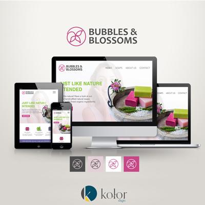KOLOR dsgn portfólió Bubbles&Blossoms logo and webdesign